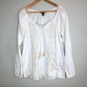 Lucky Brand Boho Long Sleeve Peasant Top Blouse XL